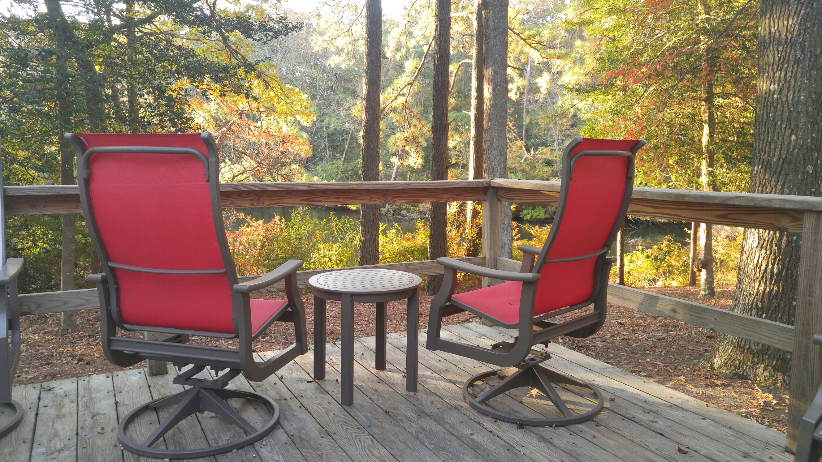 2 red chairs deck